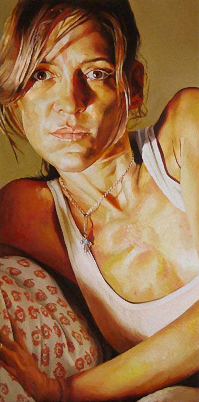 """Lori"" - Stephen Wright, oil on canvas, 2012 {contemporary figurative art female head woman face portrait painting} stephenwrightart.com"