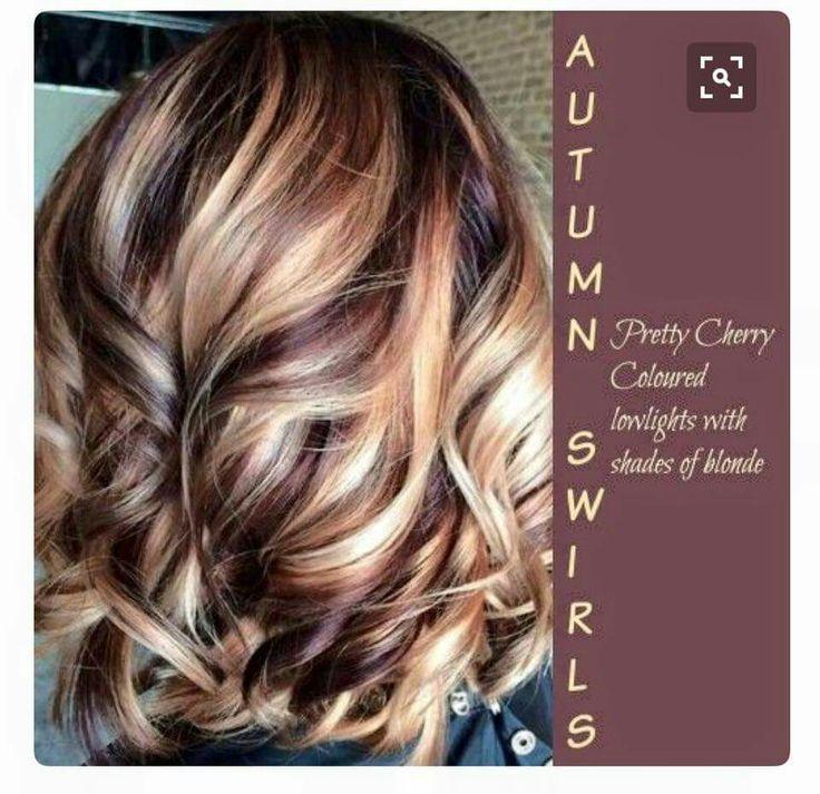 Autumn Swirl - Cherry lowlights with shades of blonde