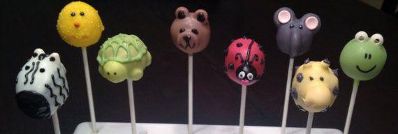 Animal Cake Pops by TheCakeBallerina on Etsy, $30.00 Customize choosing from Zebra Cake Pops, Turtle Cake Pops, Bear Cake Pops, Ladybug Cake Pops, Elephant Cake Pops, Giraffe Cake Pops, Frog Cake Pops and more!