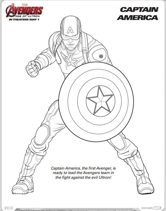 Avengers Age Of Ultron Coloring Sheets Trailer Captain