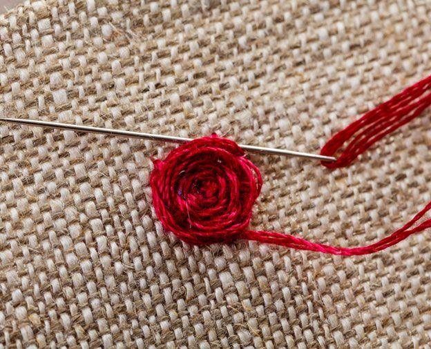Homespun's Stitch Steps embroidery tutorial for Woven Spider's Web Rose. Left and right handed tutorials available.