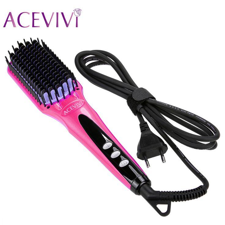 ACEVIVI Digital Electric © Hair Straightener Brush Comb Detangling  Straightening ᐃ Irons Hair Brush EU/ US/ UK PlugACEVIVI Digital Electric Hair Straightener Brush Comb Detangling  Straightening Irons Hair Brush EU/ US/ UK Plug