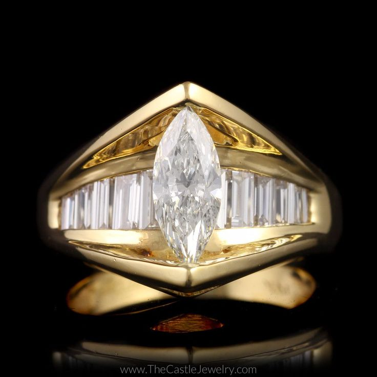 Marquise Diamond Engagement Ring in Sharko Style Mounting 14K Yellow Gold - The Castle Jewelry  - 1