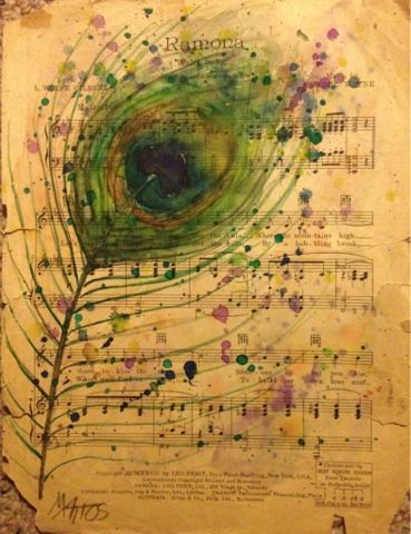 Bella Cosa Art: Day 9 30 in 30 Daily Painting watercolor on repurposed vintage sheet music