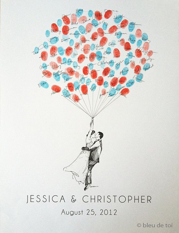 Small Custom Couple Thumbprint Balloon, The original guestbook thumbprint balloon (inks available separately) on Etsy, $75.00