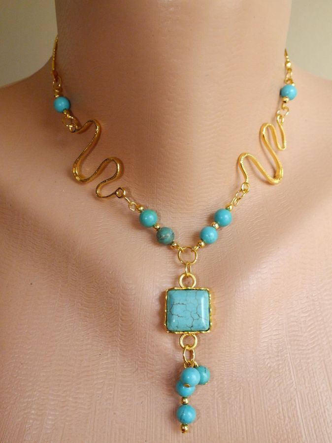 turquoise australia stylish necklace with crystals18 carat gold-filled chain materials were used. 100% custom design fashionsev.com