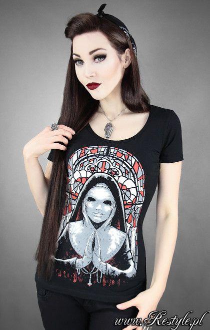 """Czarny T-shirt """"EVIL NUN"""" restyle.pl"""