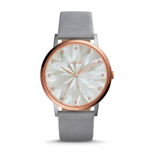This season, our new Vintage Muse captures the excitement of peering through a kaleidoscope for the first time. A faceted mosaic mother-of-pearl dial is encompassed by a crystal case that brilliantly reflects the light. Strapped in graystone leather, it's a one-of-a-kind timepiece made for the curious at heart.