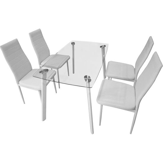 Libby Clear Glass Dining Set With 4 White Dining Chairs