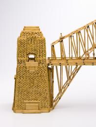 85/1266 Model and drawings of Sydney Harbour Bridge, matchsticks / split paddle-pop sticks / paper, made by Brian Sheehy, Sydney, Australia, 1984-1985 - Powerhouse Museum Collection