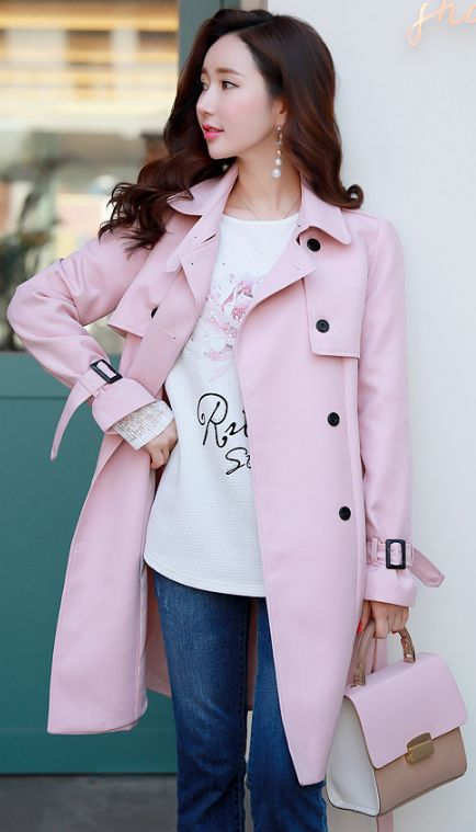 StyleOnme_Classic Silhouette Double-Breasted Trench Coat #pink #trenchcoat #spring #feminine #elegant #kstyle #koreanfashion #seoul