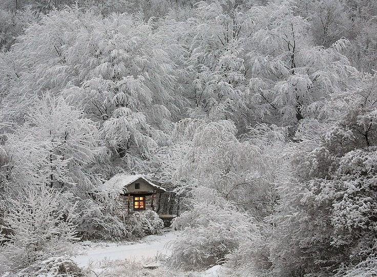 Lonely Little Houses Lost In Majestic Winter Scenery