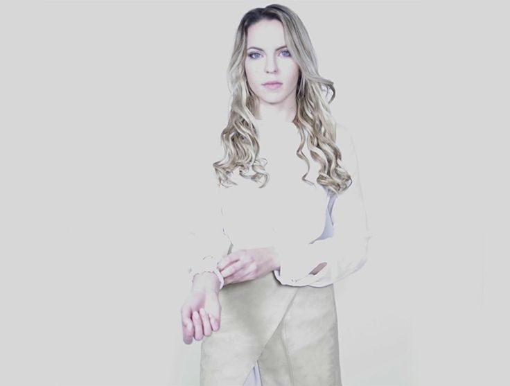 Blonde Girl in a Handmade Waist Wrap Nude Genuine Lamb Leather Skirt made in Toronto with love 💕  Chic Sophistic™ http://chicsophisticstore.com/product/nude-wrap-leather-skirt/