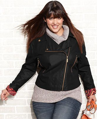 Every wardrobe should have a great faux leather jacket = Dollhouse Plus Size Motorcycle Jacket - Macy's #plussize