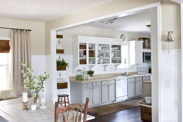 painted kitchen cabinets/open cabinets from the lettered cottage