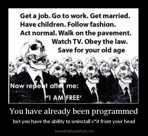 """Trouver un boulot. Aller bosser. Se marier. Avoir des enfants. Être à la mode. Agir normalement. Marcher sur le trottoir. Regarder la télé. Respecter la loi. Economiser pour ses vieux jours. Répétez après moi : """"je suis libre !"""". On a tous été programmés... mais on a tous la capacité d'effacer ce programme de merde de notre cerveau s'il ne nous convient pas..."""