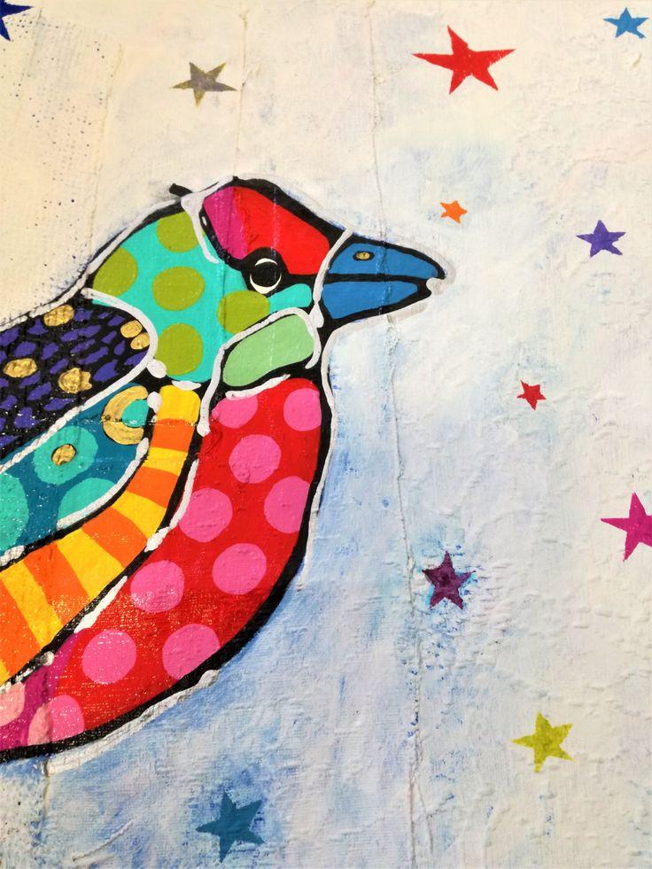 Bird Painting , Pop Art, Pop Art Painting, Bird Pop Art, Colorful bird Painting, Neo Pop Art, Original Painting, Colorful Pop Art, Bird Art by MevrouwHartman on Etsy