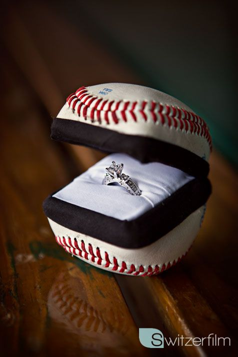 Engagement ring box my boyfriend/fiance made out of a baseball and an old ring box!