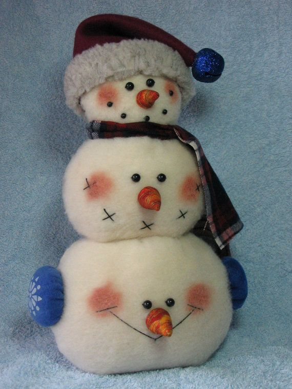 Pattern to make three snowmen in one! Made of plush felt & weighted for stability, this finished trio will measure 14 tall, 8 wide, & 4 deep.