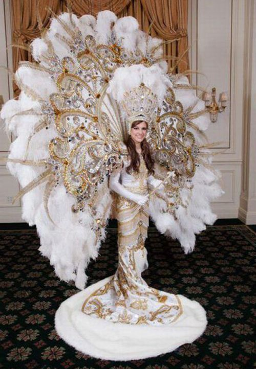 """Nothing says """"I'm an attention whore"""" like wearing a winter peacock wedding appliance as a dress."""