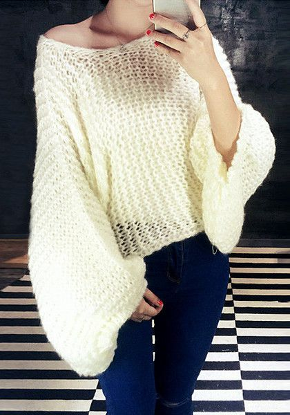 This comfortable beige lantern sleeve sweater features scoop neckline and an open knit. | Lookbook Store