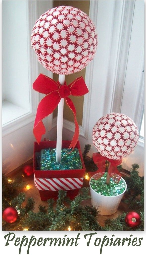 Christmas Topiaries made from red & white peppermints.