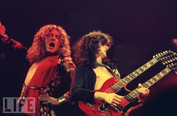 Led Zeppelin on stage at chicago stadium of the 1975 US tour, January 20, 1975