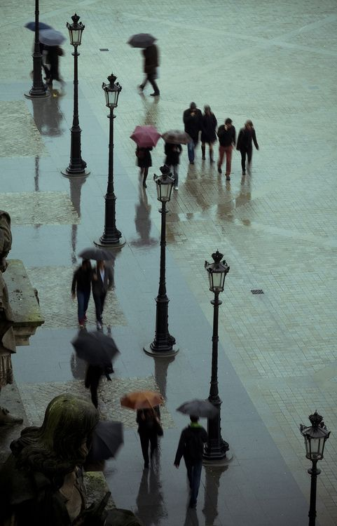 Rainy Day Outside the Louvre in Paris