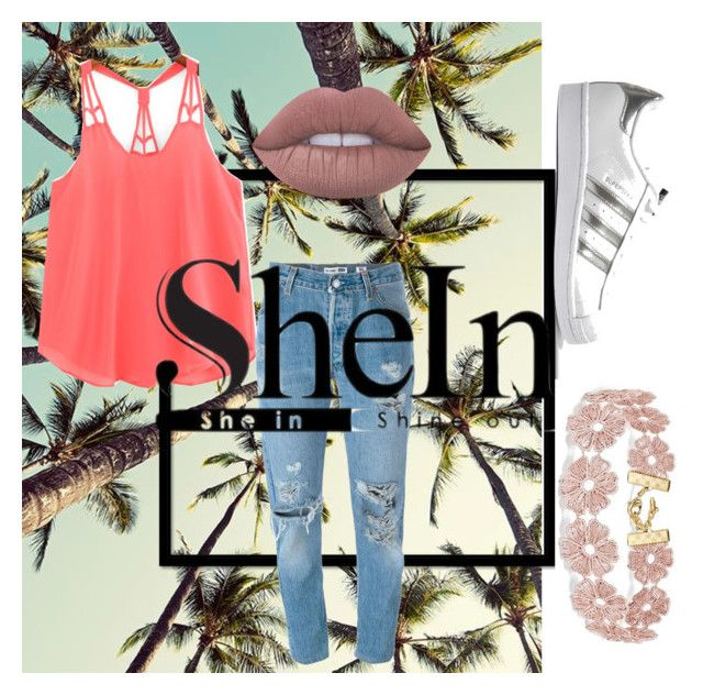 """""""Untitled #79"""" by amberekkel on Polyvore featuring Levi's, Lime Crime, BaubleBar and adidas Originals"""