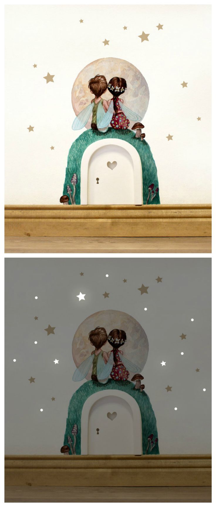 Wandtattoo Elfentür fürs Kinderzimer mit leuchtenden Sternen für die Nacht / nursery decoration: wall tattoo with little fairies and luminous stars made by deinewandkunst via DaWanda.com