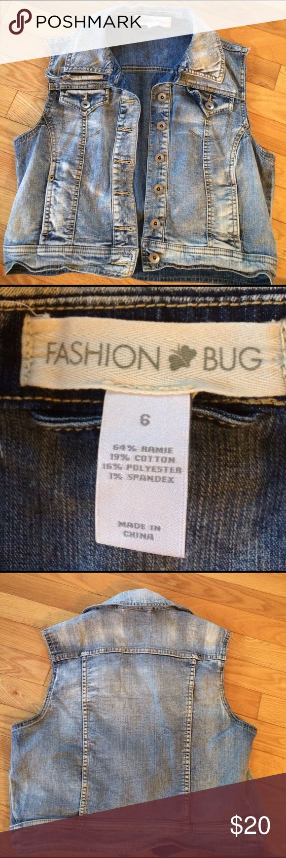 Fashion bug Jr. jean vest size 6 Fashion Bug Jr Size 6 blue denim jeans vest Fashion Bug Jackets & Coats Vests