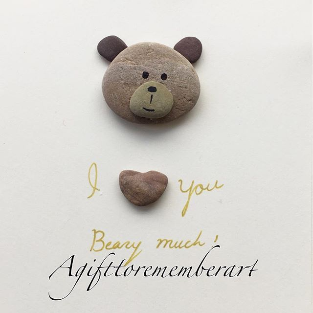 SOLD! #agifttorememberart #pebbleart #teddybear #love #etsy #etsyseller #instaart #instaphoto #makersgonnamake #roomdecor #frame #kids #handmade #unique #gift #craft #stones #beach #australia #nature #recycledart