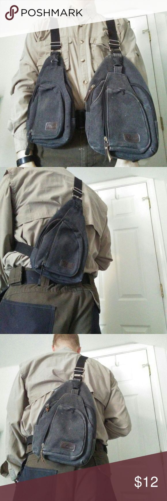 Man purse Sling  bag purse 2for1 med and large. You will be getting both bags  Canvas sling bag purse for men and women.  One main compartment One stuff area One back slash pocket One smaller outside wallet, phone, glasses. Pocket. Bags Messenger Bags