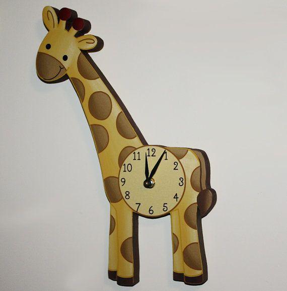 Giraffe Wooden WALL CLOCK for Kids Bedroom Baby Nursery