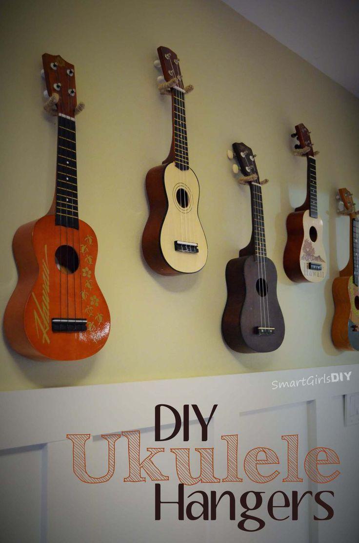 Diy Ukulele Hangers In 2020 Hanger Guitar Wall Hanger