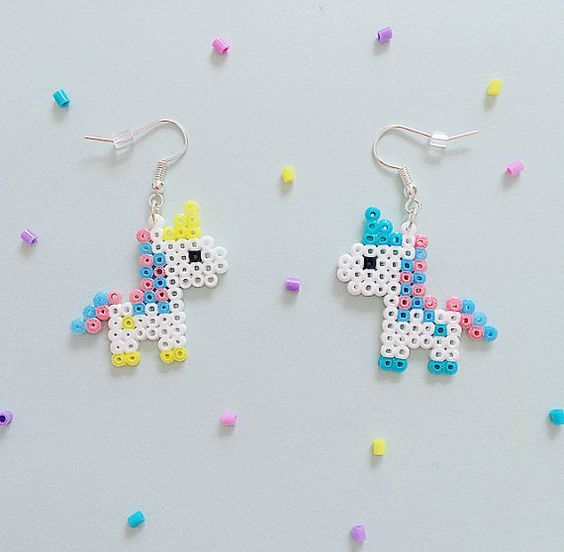 Bubble-Gum Unicorn Hama Perlen Ohrringe von GeekGirlWorkshop