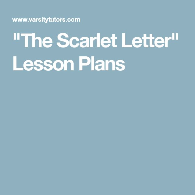the scarlet letter lesson plans
