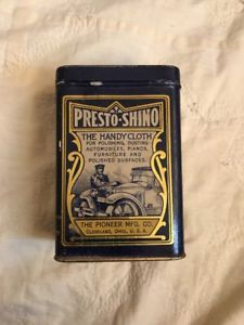 Vintage Presto-Shino Pioneer Mfg Auto Polish Handy Cloth Tin W/Cloth Cleveland  | eBay