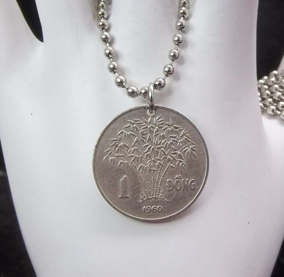 Coin Necklace Vietnam 1 Dong Coin Mens by AutumnWindsJewelry, $12.00