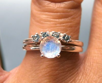 moonstone rainbow moonstone blue topaz sterling engagement wedding ring set - Ebay Wedding Ring Sets