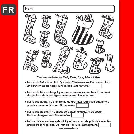 Fichier PDF téléchargeable Langue: français En noir et blanc 1 page Taille de la page: 8,5 X 11 po. Niveau: 1re année L'enfant doit trouver les bas de Zoé, Tom, Ana, Léo et Kim grâce aux descriptions données. Réponses: -Zoé:3 -Tom:4 -Ana:6 -Léo:5 -Kim:10