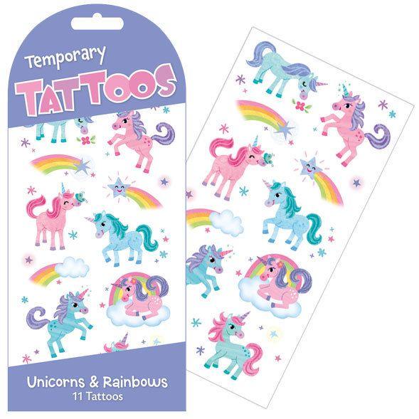 UNICORNS + RAINBOWS TEMPORARY TATTOOS