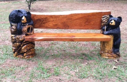 Beautiful chainsaw carved carving bench black bear rustic