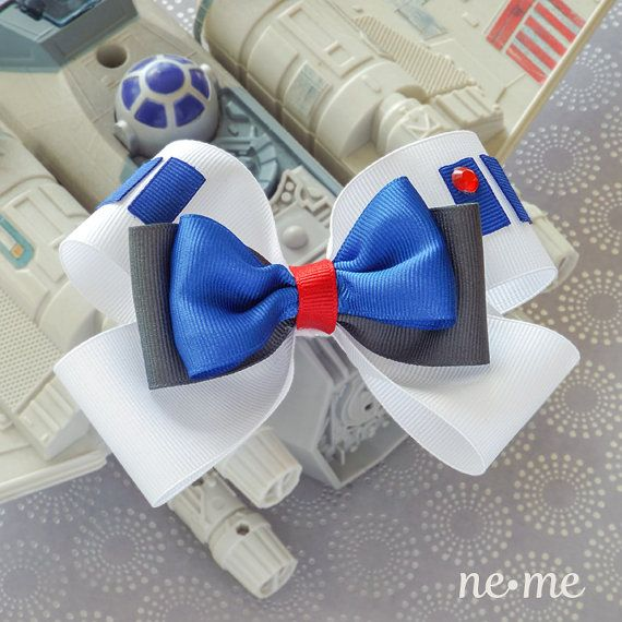 R2-D2 Inspired Hair Bow, Star Wars Inspired Hair Clip, White and Royal Blue Hair Bow, R2-D2 Hair Clip