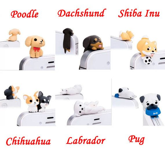 Cute Black Brown Hanging Dachshund Dog Dust Plug 3.5mm by MilanDIY