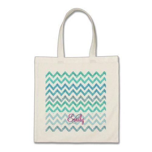 Monogram Summer Sea Teal Turquoise Glitter Chevron Tote Bag