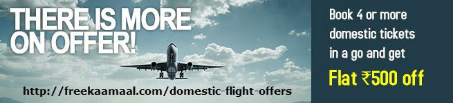 If you are travelling across the country frequently then it is obvious that you are spending lot of money buying air tickets to and fro. To save your money purchasing air ticket, FrreKaMaal offers you Flight discounted deals so that you can book cheapest flight tickets as per your convenience.  http://freekaamaal.com/flight-offers