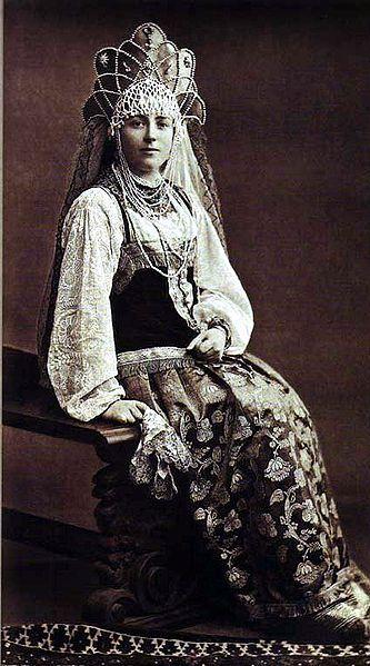 Princess Olympiada Alexandrovna Baryatinskaya in 17th-century folk costume