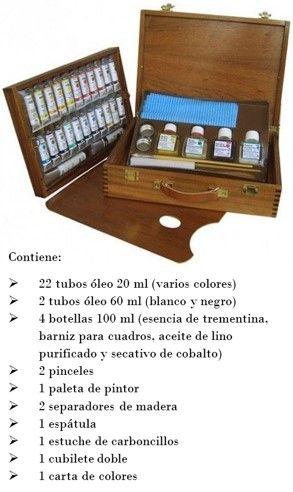 Caja de óleos Titán incluye 22 colores de 20 ml, 2 tubos (blanco y negro) de 60 ml.  paleta de madera, pinceles, pocillos, carboncillos, espátula, gamuza, esencia de trementina, barniz para cuadros, aceite de lino purificado y secativo de cobalto. Encuéntrala a un precio fantástico de oferta en Topaz tienda de manualidades y bellas artes de Madrid