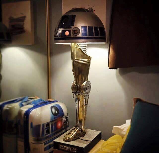 Droid lamps (Star Wars Leg Lamp) built by artist Gordon Tarpley, inspired by the sexy lady leg lamp in A Christmas Story. Gordon Tarpley is a prop builder, visual effects creator and cosplayer who specializes in C-3PO. https://www.instagram.com/gordontarpley